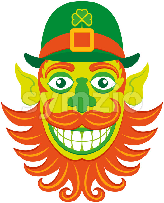 Saint Patrick's Day Leprechaun hipster with groomed beard Stock Vector