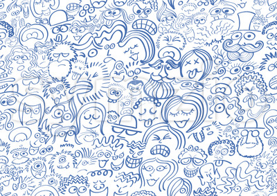 Pattern composed of a crowd of people in blue Stock Vector