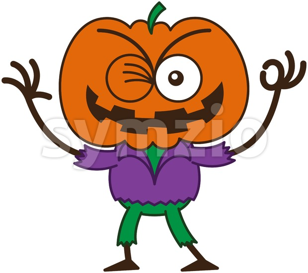 Halloween scarecrow winking and making an OK sign Stock Vector