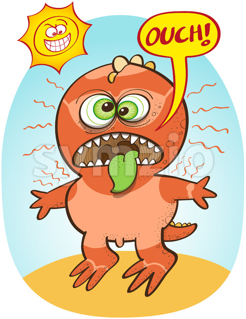 Funny dinosaur suffering from bad summer sunburn Stock Vector