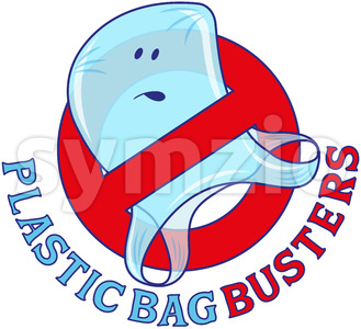 Plastic bag busters, stop plastic pollution Stock Vector