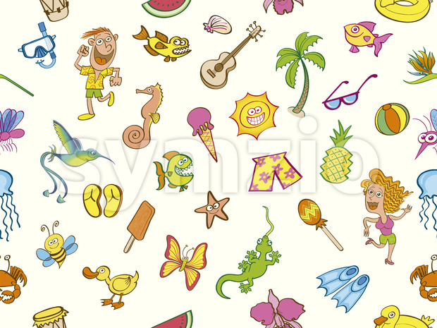 Colorful holidays, seamless summer pattern Stock Vector