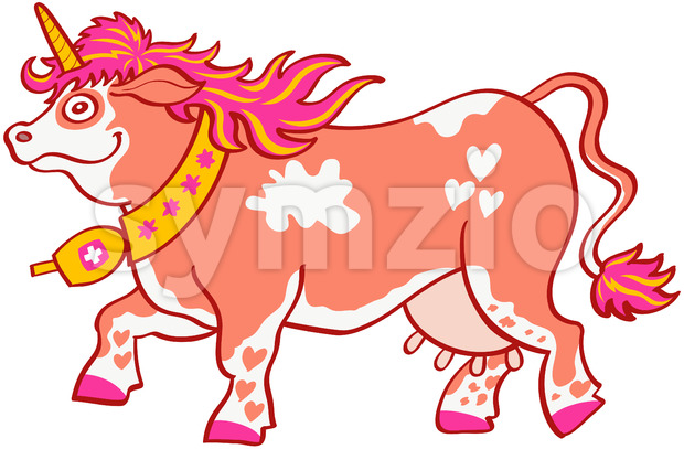 Mischievous Swiss cow disguised as a funny unicorn Stock Vector