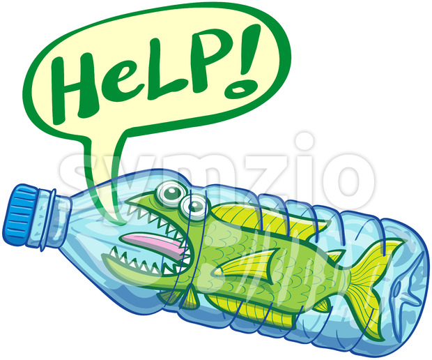 Scared fish inside a plastic bottle crying for help Stock Vector