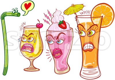 Plastic straw is rejected when flirting with sexy drinks Stock Vector