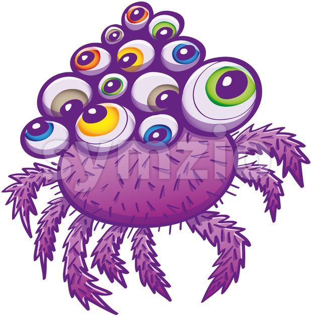 Terrific spider with multiple eyes and hairy legs Stock Vector