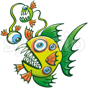 Monstrous fish with monsters along its dorsal appendage Stock Vector