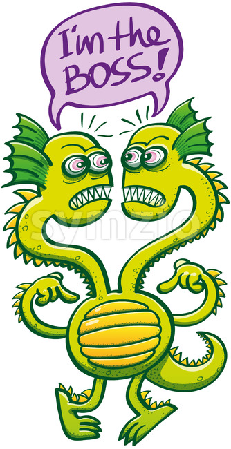 Two-headed monster struggling to decide who the boss is Stock Vector