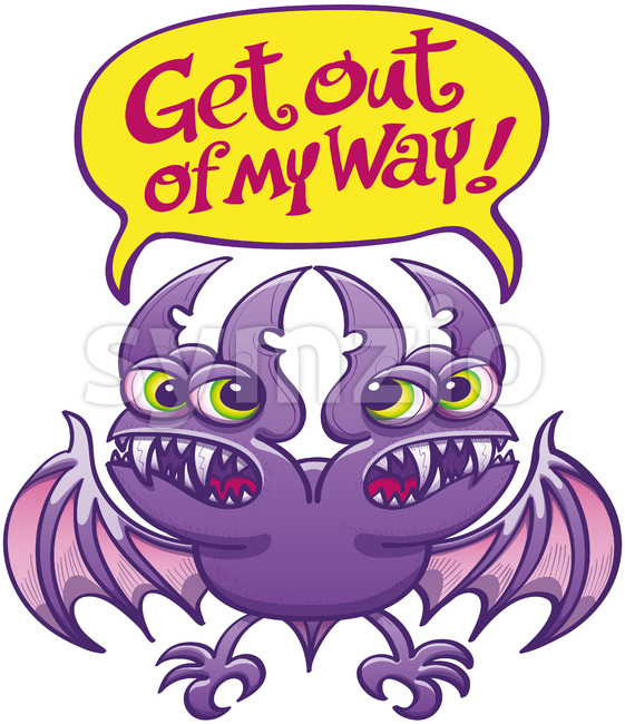 Two-headed bat asking each other to get out of the way Stock Vector