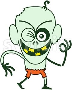 Halloween zombie winking and making an OK sign Stock Vector