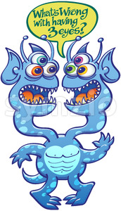 Two-headed alien wondering about having three eyes Stock Vector