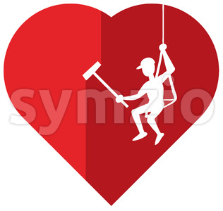 Heart cleaning executed by a professional cleaner Stock Vector