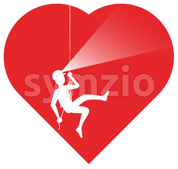 Courageous speleologist exploring inner heart Stock Vector