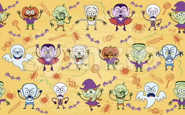 Bunch of scary but funny characters in a Halloween pattern Stock Vector