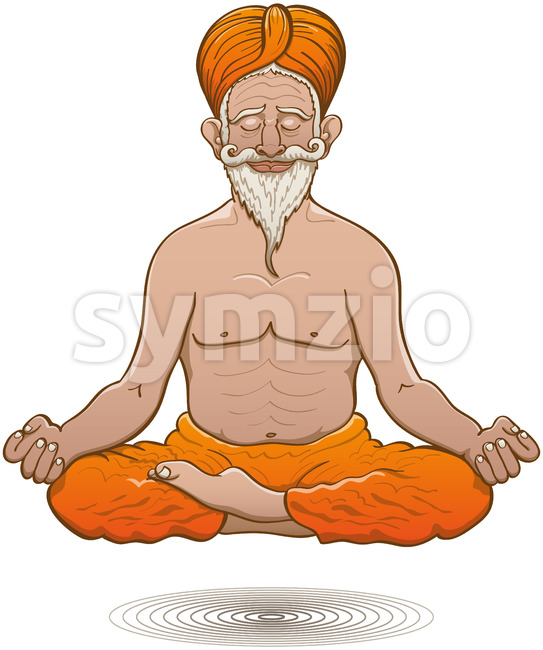 Indian guru floating while meditating in half lotus pose Stock Vector