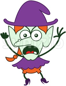 Halloween witch feeling furious and protesting Stock Vector