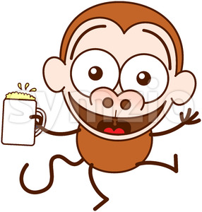Cool monkey celebrating the joy of life with beer Stock Vector