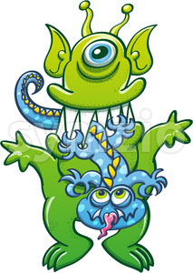 Big green alien monster eat little blue monster Stock Vector