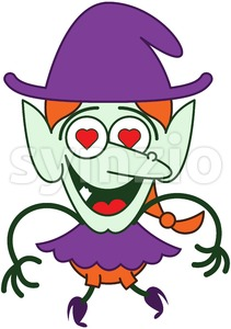 Halloween witch irremediably falling in love Stock Vector