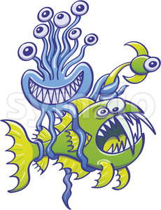 Monster octopus catching an abyssal fish with its tentacles Stock Vector