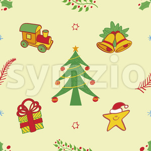 Christmas symbols pattern, tree, train, bells, gift and star Stock Vector
