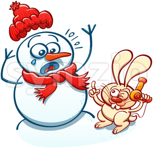 Mischievous bunny menacing a snowman with a hair dryer Stock Vector