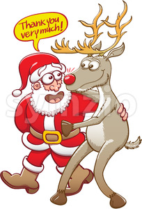 Santa saying thanks to his red nosed reindeer Stock Vector
