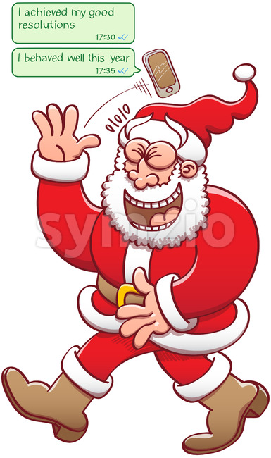 Santa laughing at fake good behavior reports Stock Vector