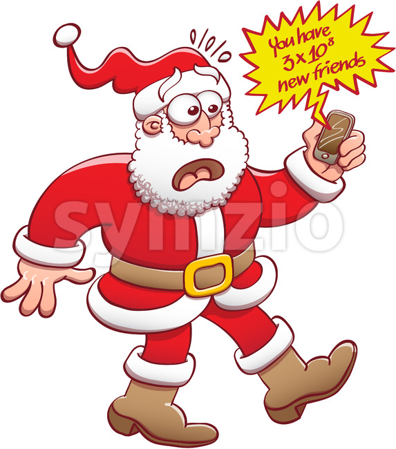Santa shocked after getting lots of new friends alerts Stock Vector