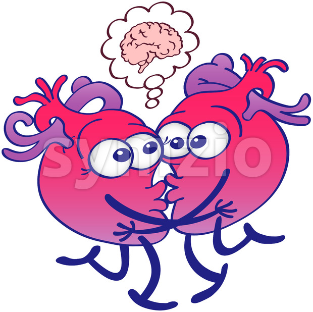 Kissing hearts thinking too much when kissing Stock Vector