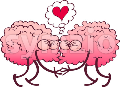 Couple of kissing brains falling in love Stock Vector