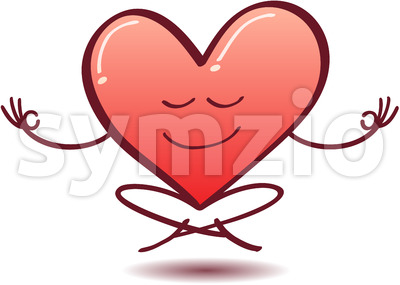 Heart meditating, floating and half-smiling Stock Vector