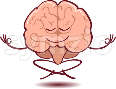 Brain meditating, floating and half-smiling Stock Vector