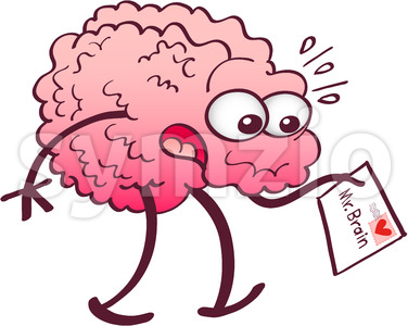 Surprised brain receiving a letter from heart Stock Vector