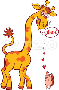 Bold hedgehog making a declaration of love to a tall giraffe Stock Vector