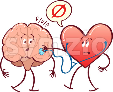 Heart checking brain with a stethoscope Stock Vector