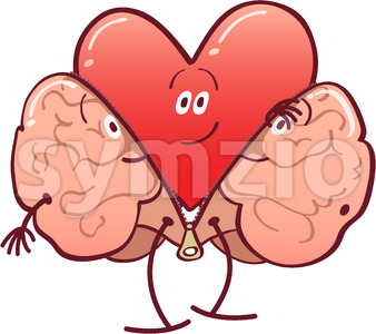 Mischievous heart getting rid of a brain costume Stock Vector