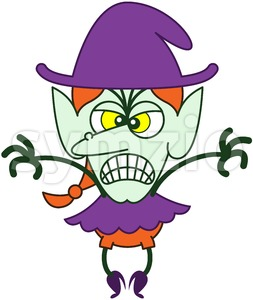 Halloween scary witch expressing anger and groaning Stock Vector