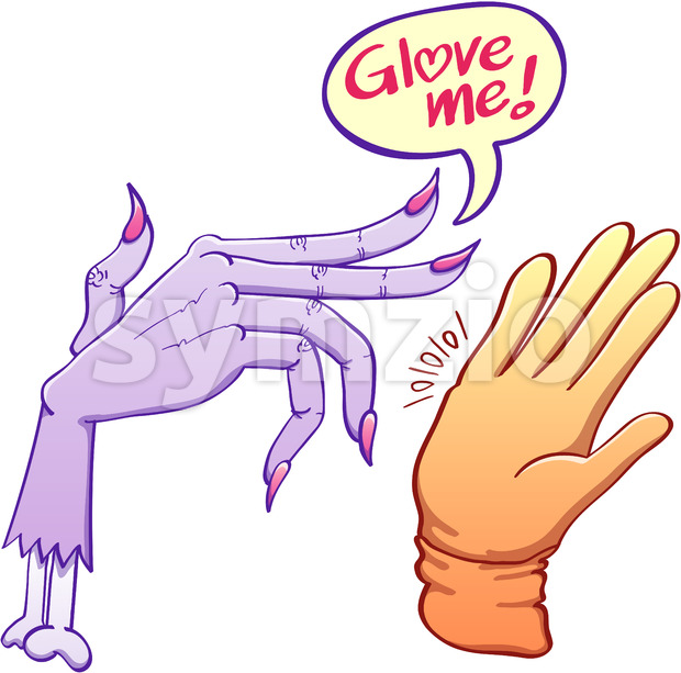 Monstrous scary hand asking for glove Stock Vector