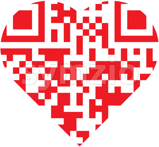 Scan this red QR code inside a cartoon heart Stock Vector