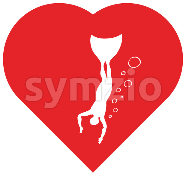 Freediving into the depths of the heart Stock Vector