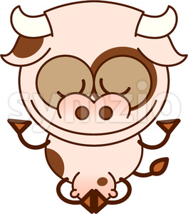 Cow meditating in lotus pose and joyful mood Stock Vector