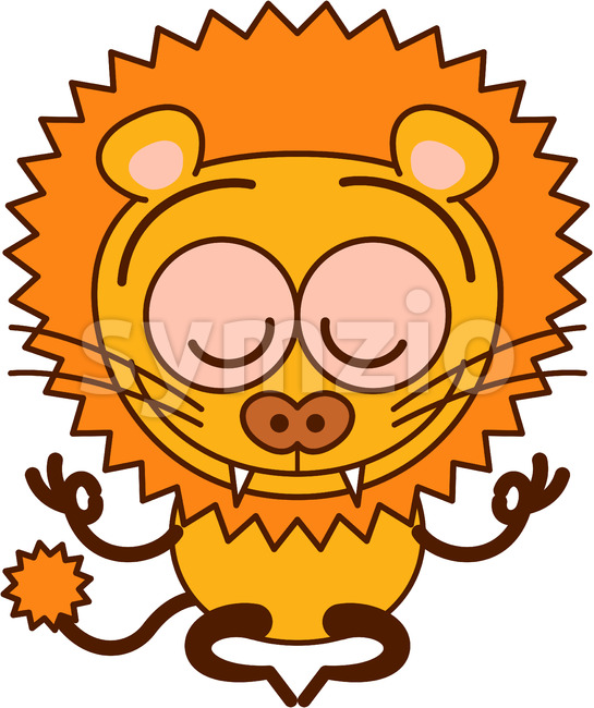 Enthusiastic lion meditating in happy mood Stock Vector