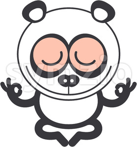 Nice panda bear meditating in lotus pose Stock Vector