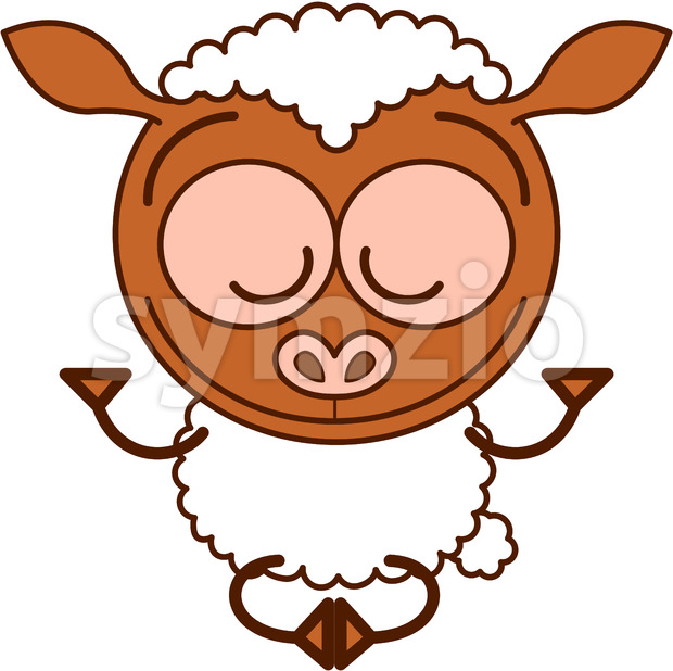 Sweet sheep meditating in Zen mood Stock Vector