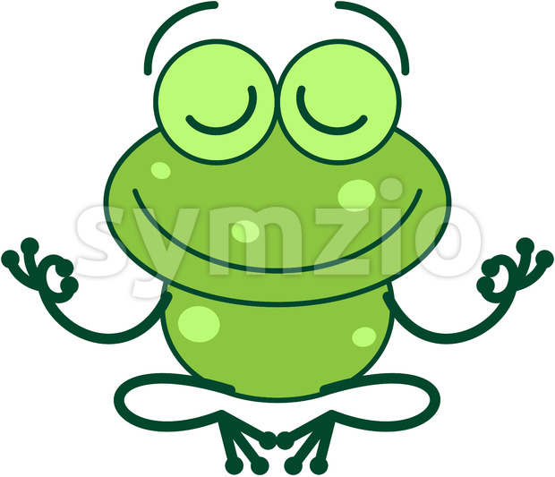 Cool green frog meditating in lotus pose Stock Vector