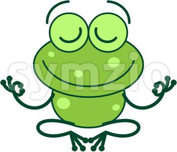 Cool green frog meditating in lotus pose Stock Vector