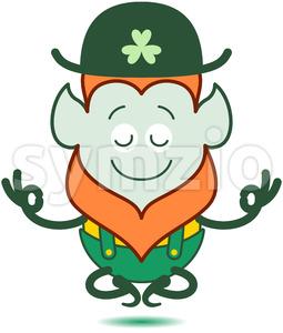 Saint Patrick's Day Leprechaun meditating Stock Vector