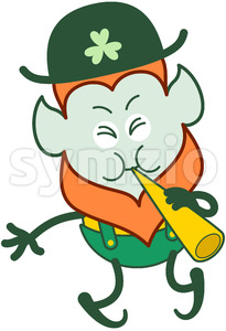 Saint Patrick's Day Leprechaun playing cornet Stock Vector