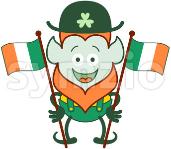 St Patrick's Day Leprechaun waving Irish flags Stock Vector